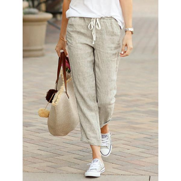 Casual Soft Solid Color Pocket Drawstring Pants