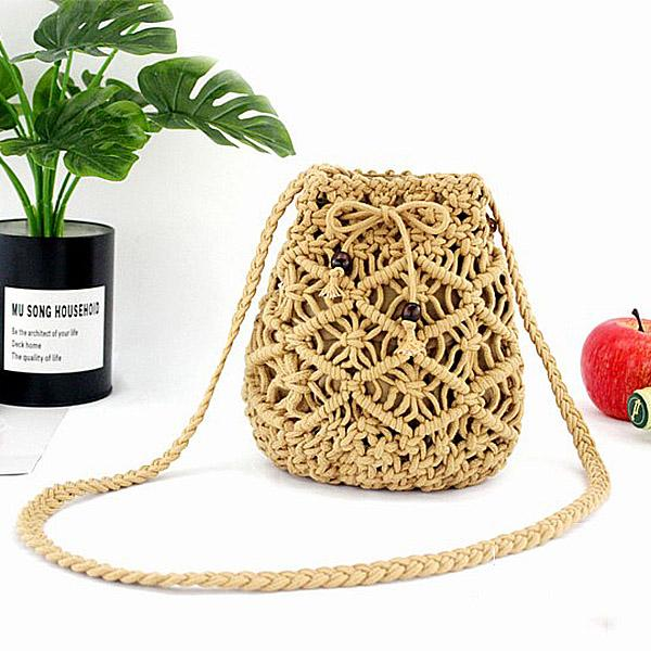 Mini Cotton Rope Woven Beach Bags Bohemian Outdoor Crossbody Bag