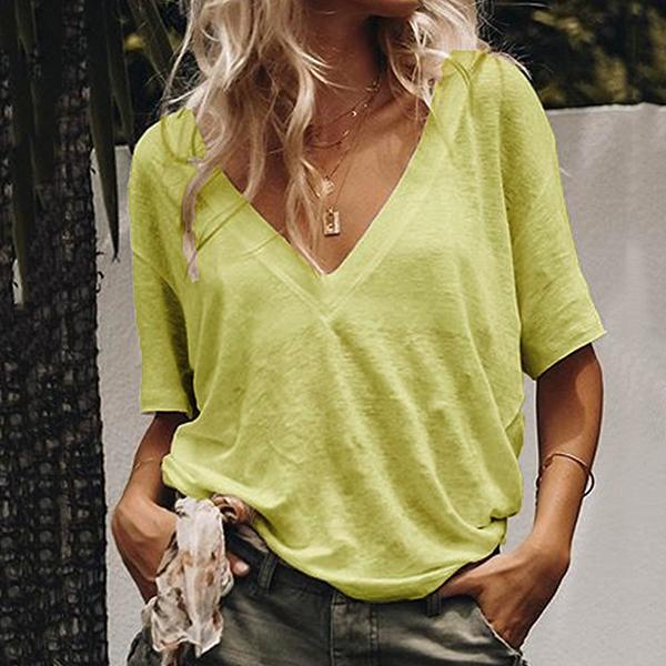 Casual Loose V Neck Blouse
