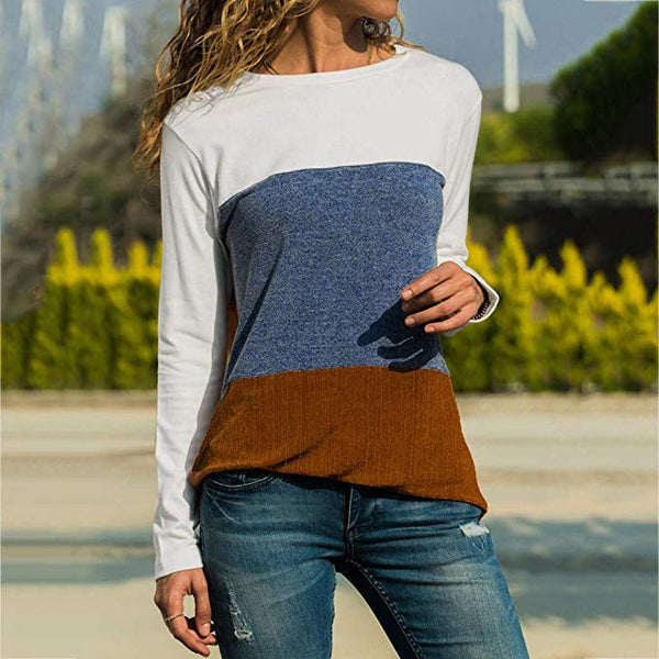 Women Fashion Casual R-Neck Patchwork Long Sleeve Knit Blouse