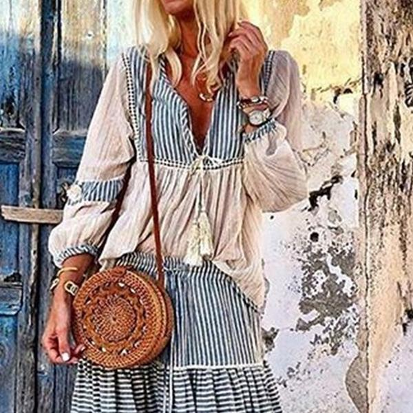 Fashion Temperament Striped V-Neck Dress