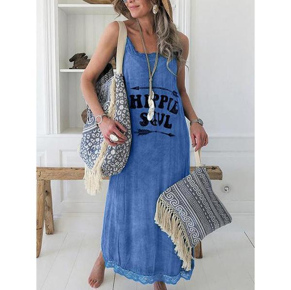 Women Casual Lace Printed Sleeveless Dress