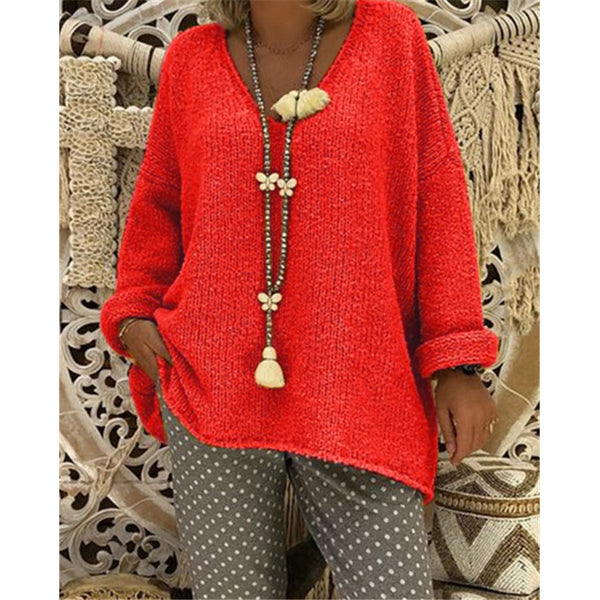 Knitwear Long Sleeve Solid Loose Casual Lady Daily Sweaters