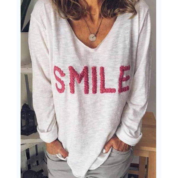 Solid Smile Fall Women Casual Printed Shirt &Tops