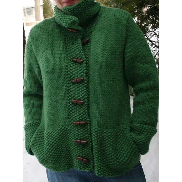 Solid Pockets Caridgan Vintage Stand Collar Sweater