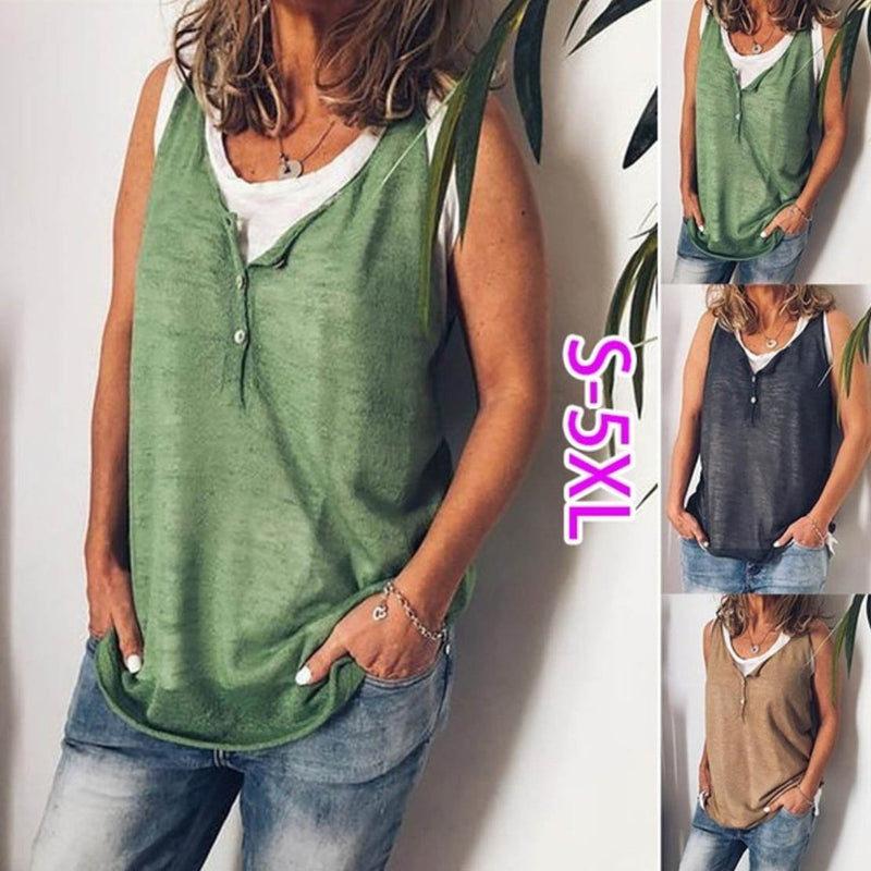 Plus Size Casual V-Neck Button Tanks