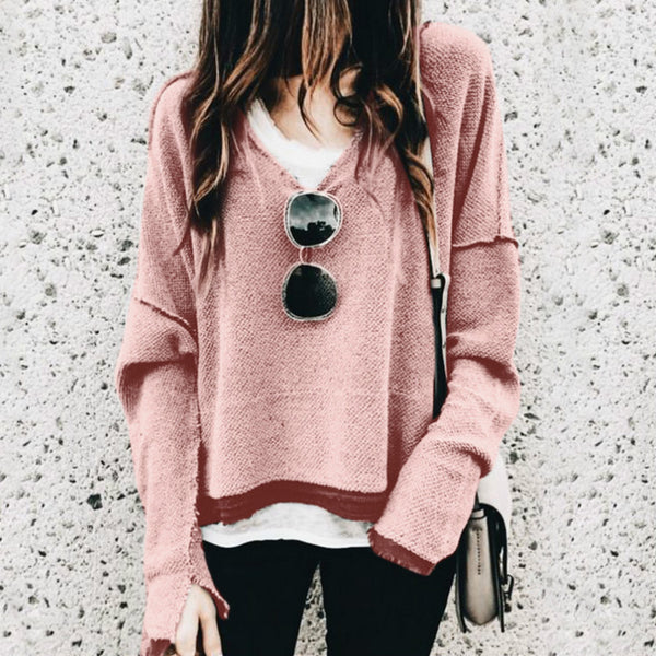 V-neck Long Sleeve Versatile Sweatershirts