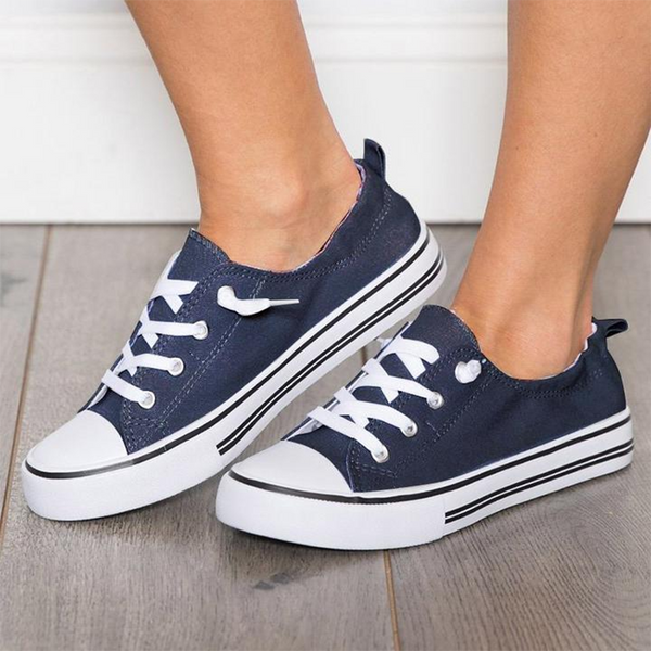 Casual Lace-Up Flat Sneakers