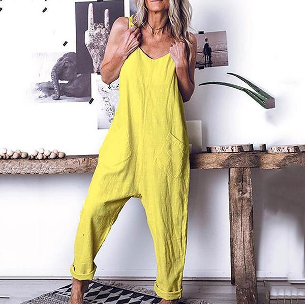Daily Solid Color Loose Sleeveless Jumpsuits