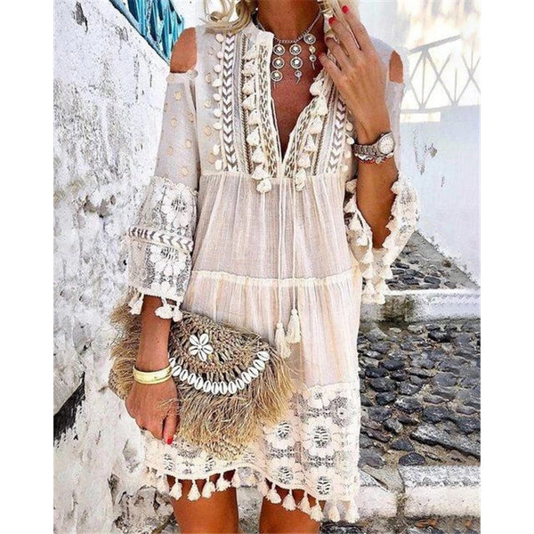 Elegant V Neck Lace Dresses
