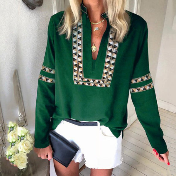 Boho Ethnic V Neck Long Sleeve Casual Women Go-Out Blouses