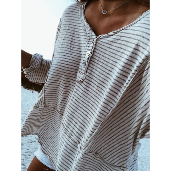 Buttoned Striped Casual V Neck Blouses