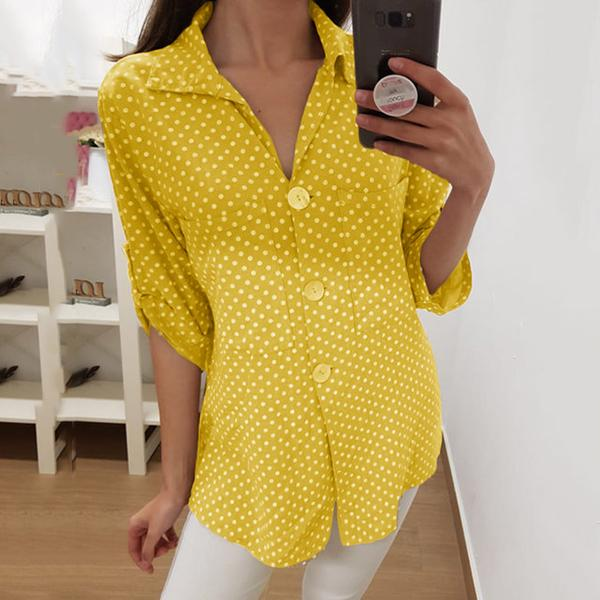 Polka Dot Lapel Neck Button Blouse