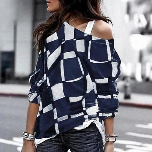 Fashion Off Shoulder Printed Loose Blouse