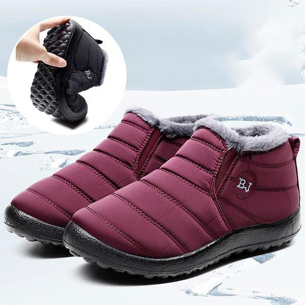 Warm Waterproof Solid Color Flat Heel Boots