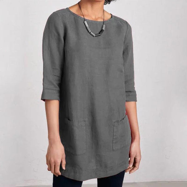 Plus Size Round Neck 3/4 Sleeve T-shirt