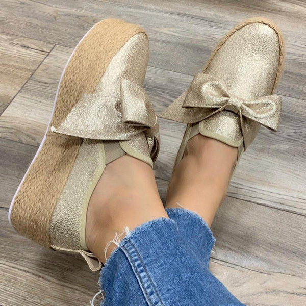 Women Casual Comfy Bowknot Slip On Shoes