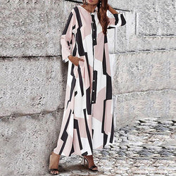 Loose Single-Breasted Round Neck Print Maxi Dress