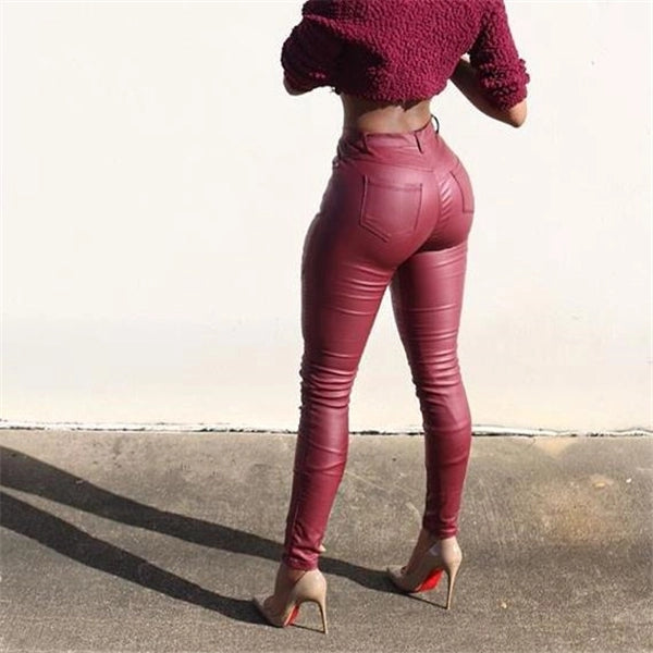 Stylish Business Thermal Plain Close-Fitting Leather Pants