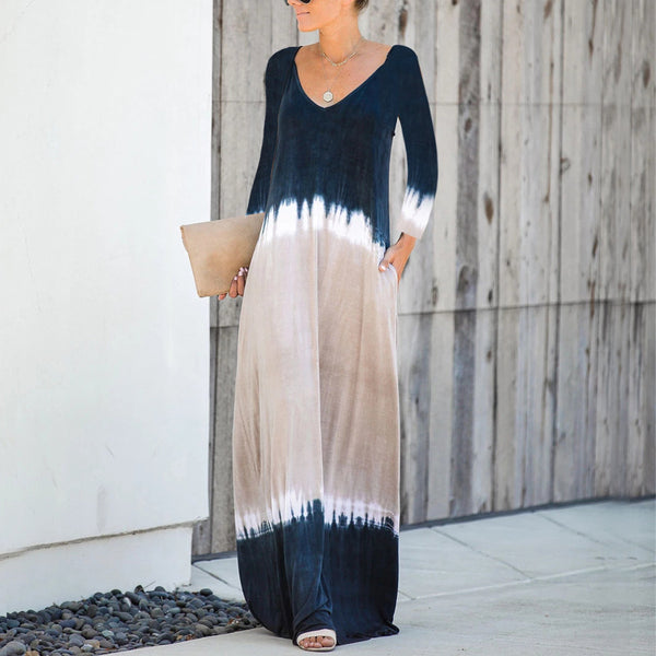 Fashion Dye Pocketed Maxi Dress