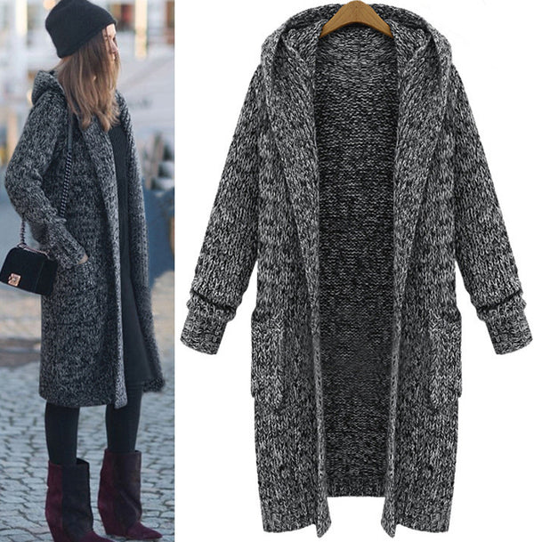 Long Solid Color Loose Hooded Knit Cardigan