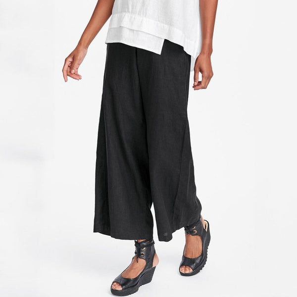 Casual Plain Wide Leg Pants