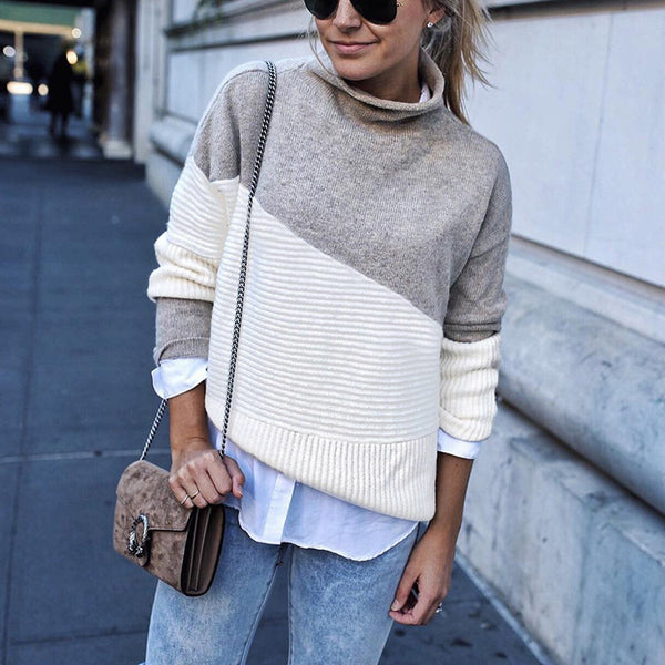 Splice Long Sleeve High Neck Knit Sweaters