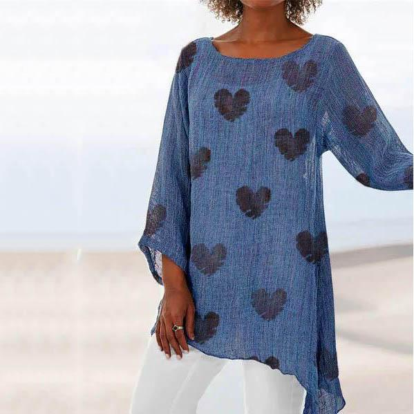 Plus Size Casual Beach Printed Shirts & Tops