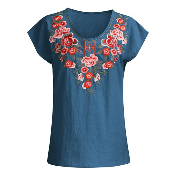 Casual Short Sleeve V-Neck Embroidered Blouse