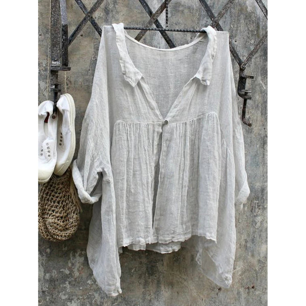 Solid Asymmetrical 3/4 Sleeve Blouses