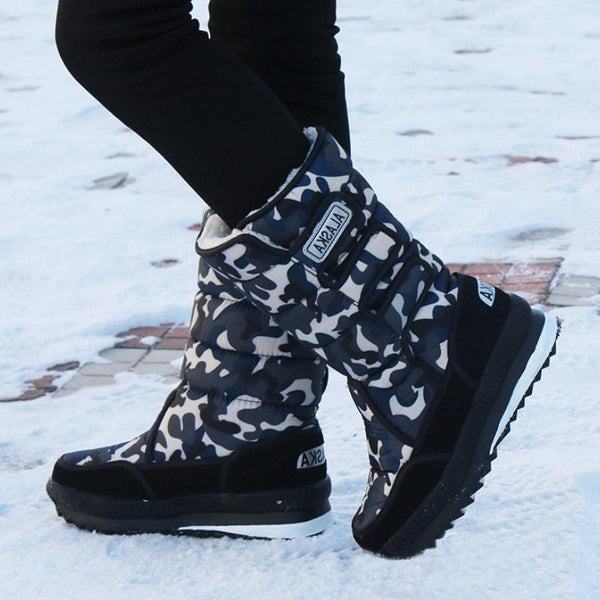 Winter Warm Thickening Fur Lined Mid Calf Snow Boots