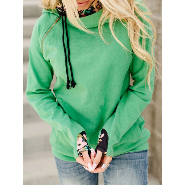 Double Hooded Printed Stitching Long Sleeve Women's Sweatershirts