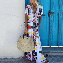 Printed Short-Sleeved V-Neck  Dress