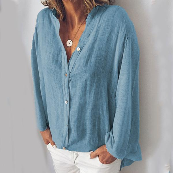 Cotton and  Linen V-neck Solid Color Loose Casual Blouses