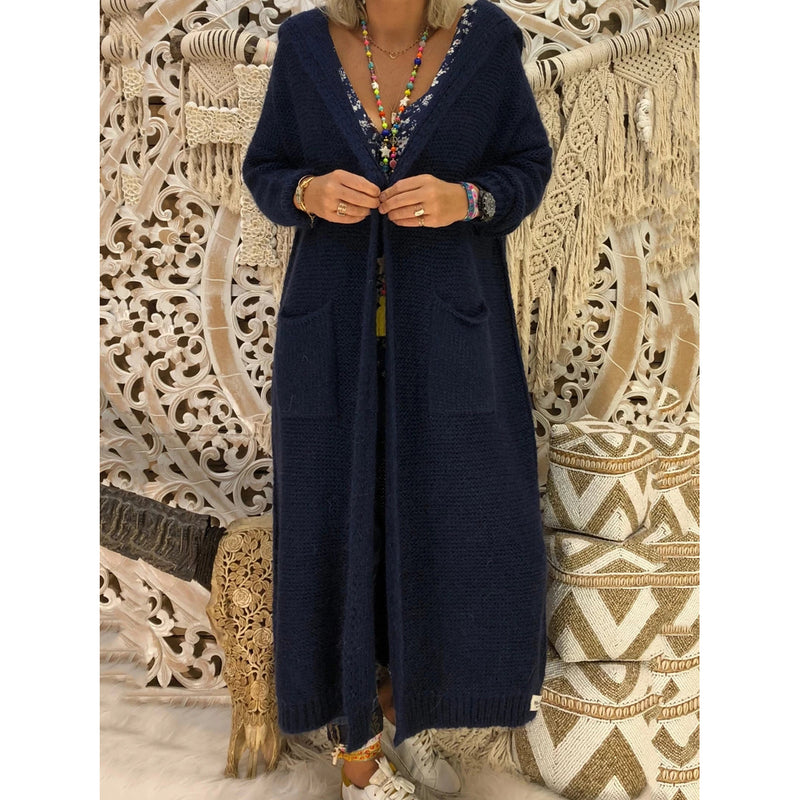 Casual Hoodie Long Sleeve Knitted Pockets Cardigan