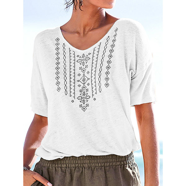 Casual Printed Short Sleeve V Neck Blouse