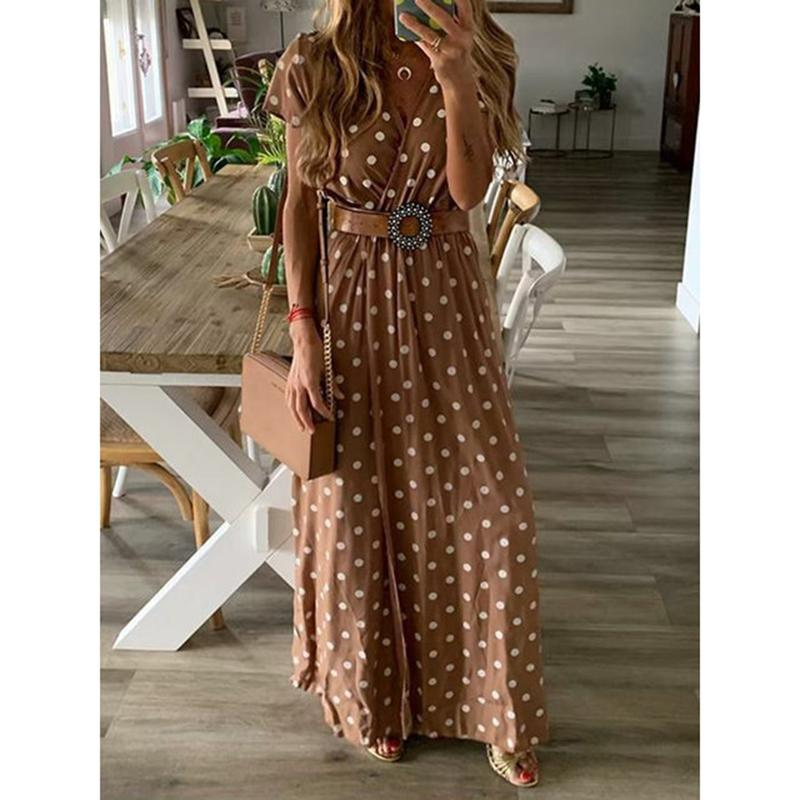 Casual V Neck Polka Dots Maxi Dresses