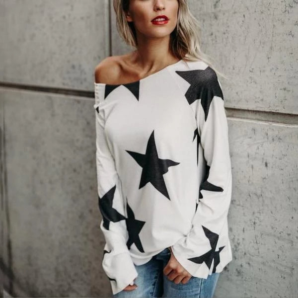 Fashion Five-Pointed Star Slant Shoulder Long Sleeve Loose T-Shirt