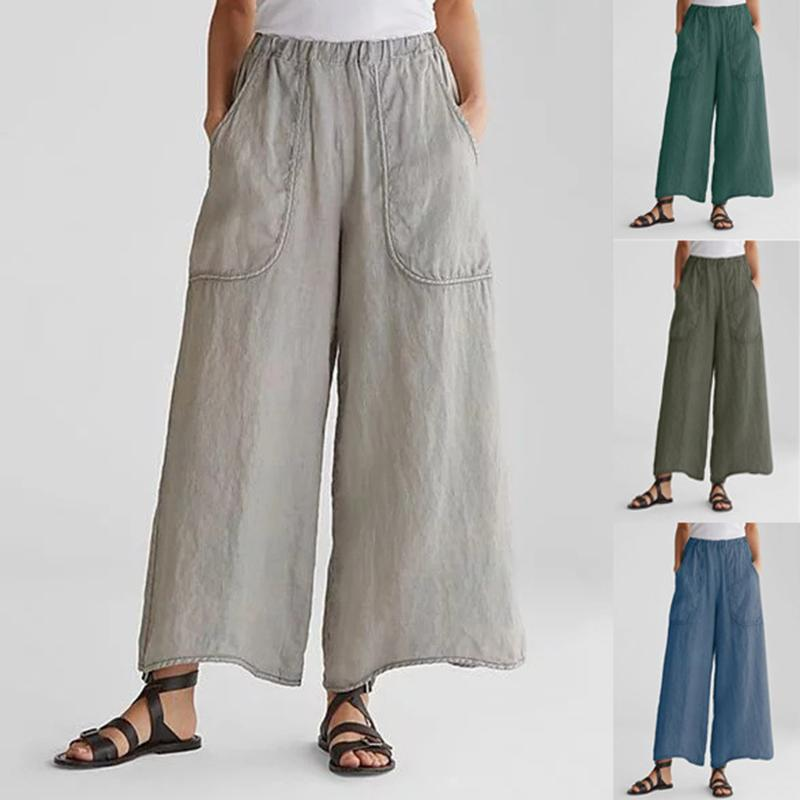 Casual Loose Cotton Linen Pockets Wide Leg Pants