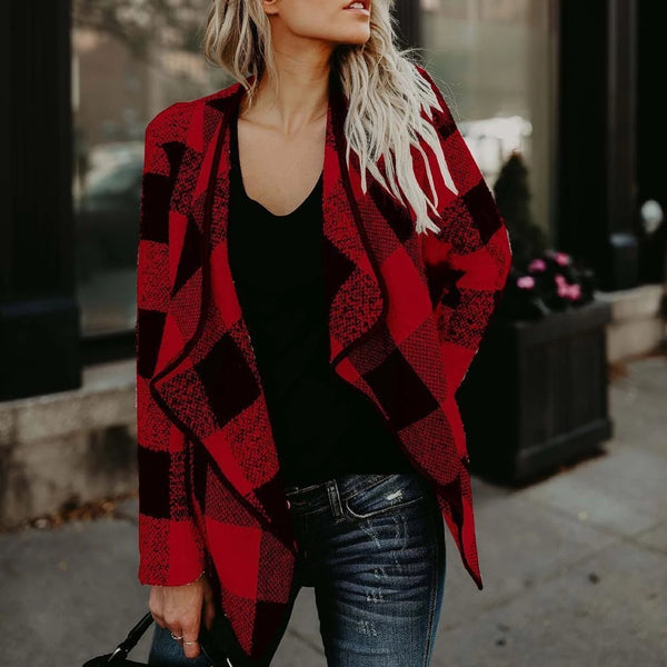Trendy Plaid Lapel Casual Outwear