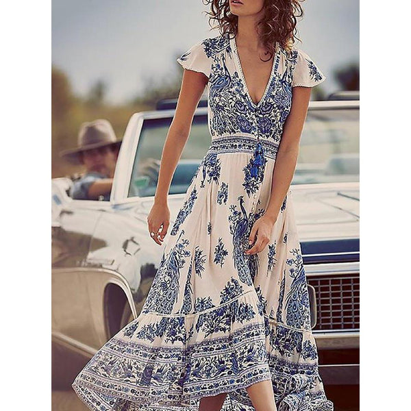 Bohemain Drawstring Waist Print Maxi Dress