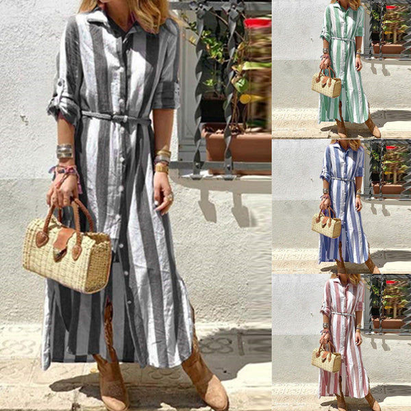 Casual Striped Lapel Long Sleeve Plus Size Maxi Dress