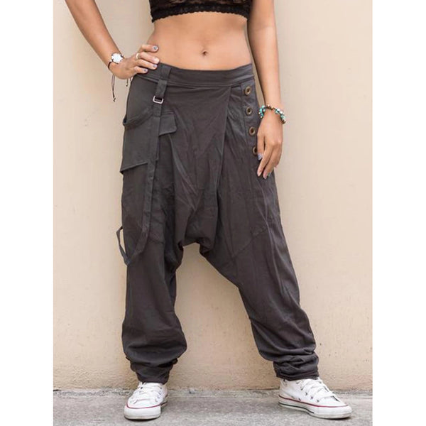 Casual Pockets Buttoned Women Pants