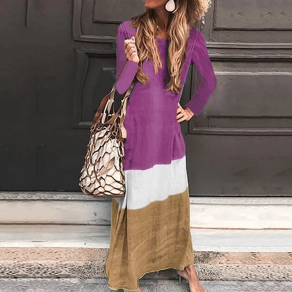 Casual Loose Long Sleeve Ankle-Length Printed Color Dress