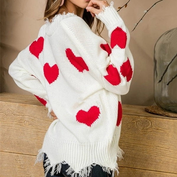 Fashion V Neck Heart Print Long Sleeve Sweater