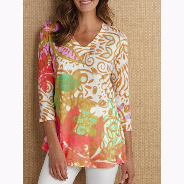 Women Printed Loose V-neck Blouse