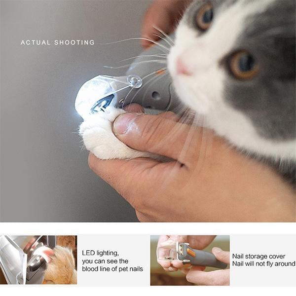 LED Lights Pet Nail Cutter Dog Cat Nail Clippers Animal Nail Trimmer Grinder Grooming Tool