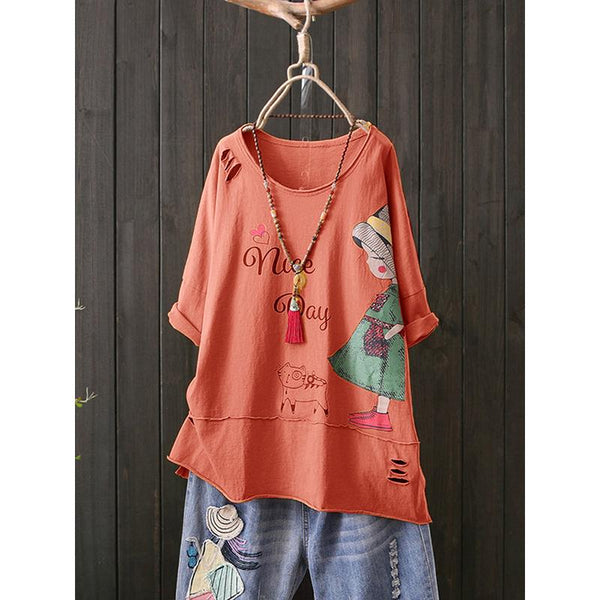 Print Cartoon Cute Girl Crew Neck Short Sleeve T-Shirt