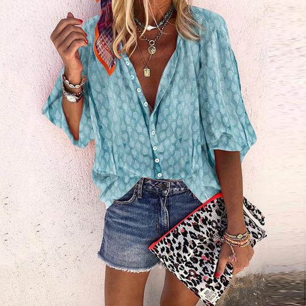 Summer Middle Sleeve Printed Blouse