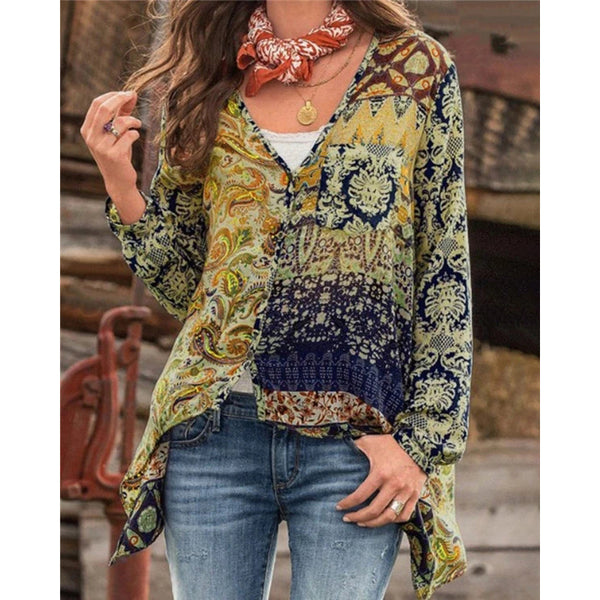 V Neck Fall Floral Designer Casual Shirts & Tops